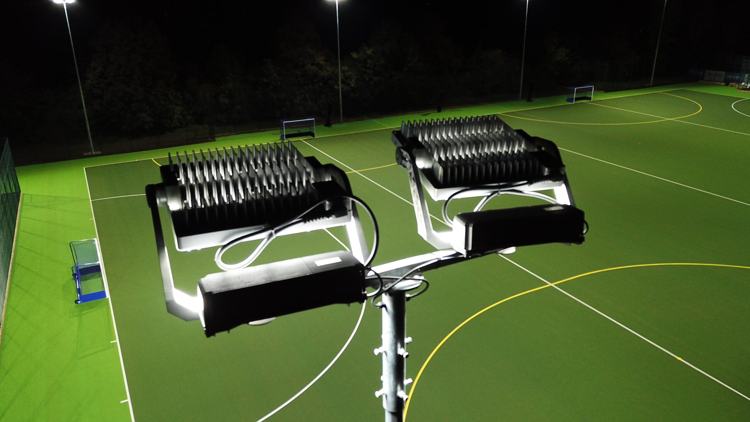 st marys school led floodlights installed by halliday lighting