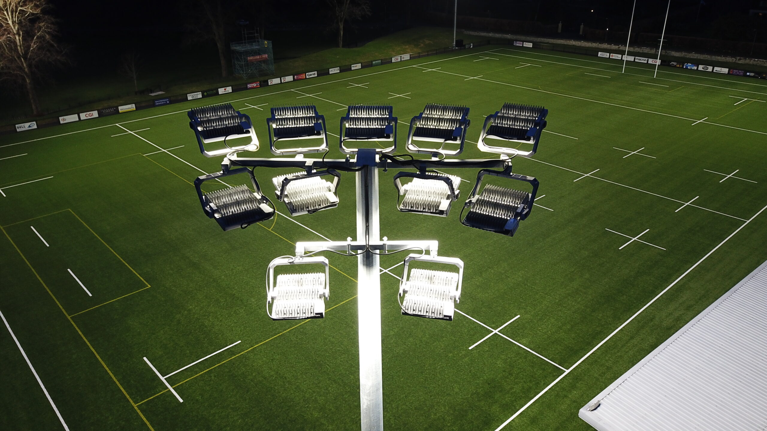 halliday lighting led floodlights rugby pitch