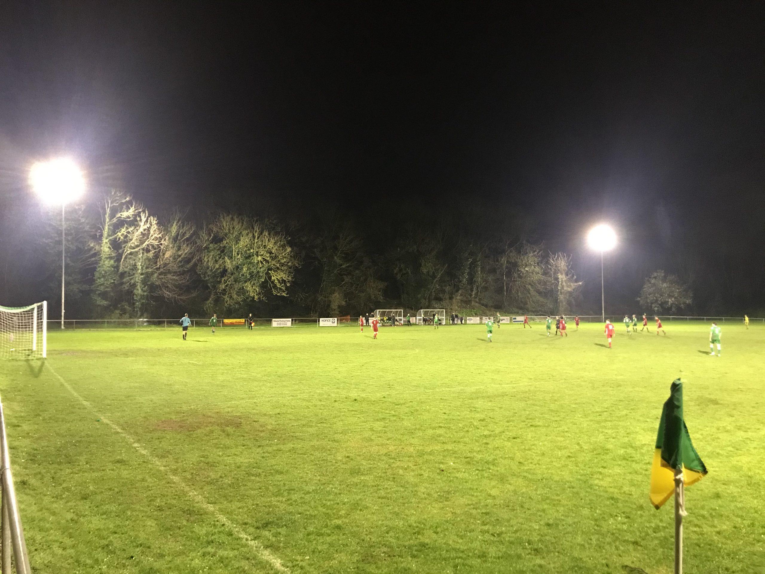 halliday lighting floodlights at lakenheath football club