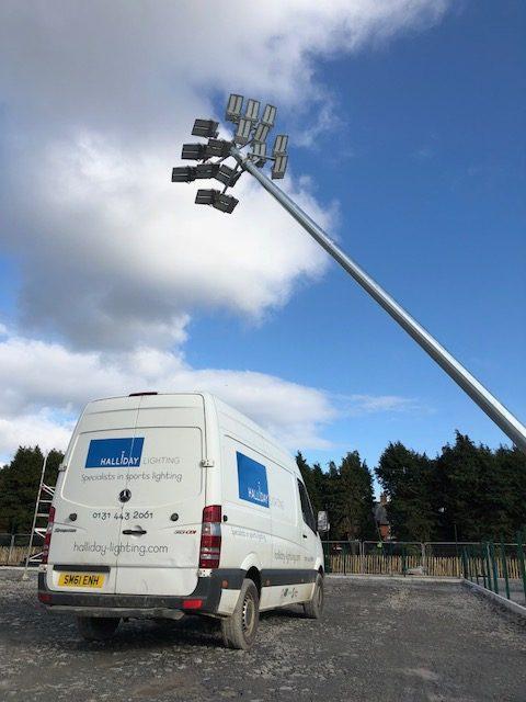 halliday lighting van installing floodlights